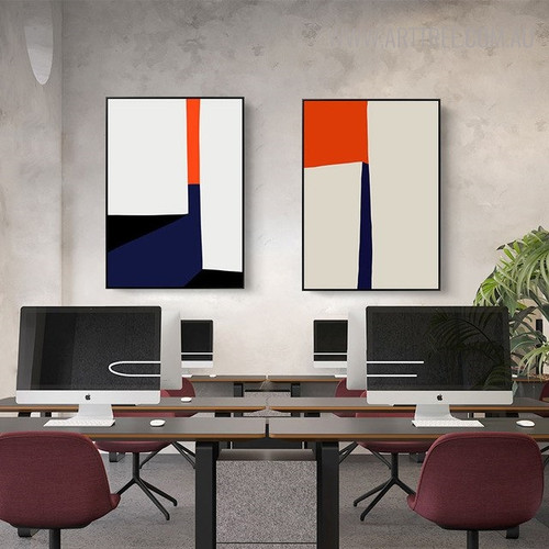 Colorful Figures Modern Abstract Geometric Painting Print for Office Room Ornament