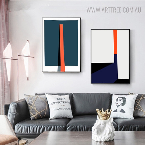 Bold Baton Modern Abstract Geometric Painting Print for Living Room Decor