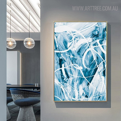 Cyan Abstract Modern Painting Print for Room Wall Decor