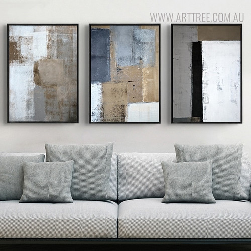 Dark Shades Vintage Abstract Painting Print for Living Room Decor