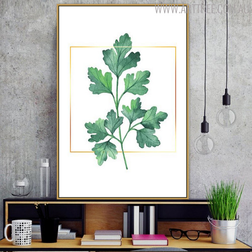 Coriander Botanical Modern Nordic Painting Print for Study Room Adornment