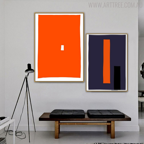 Orange Blue Modern Abstract Geometric Painting Print for Living Room Decor
