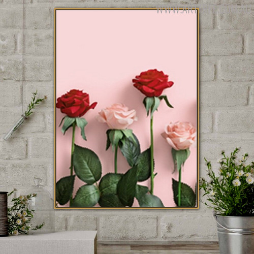 Red Pink Rose Modern Floral Painting Print for Room Wall Getup