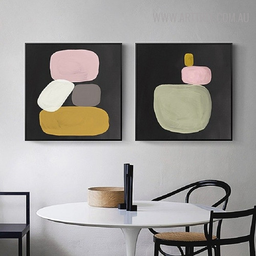 Stones Vintage Abstract Still Life Painting Canvas Print for Dining Room Wall Decor