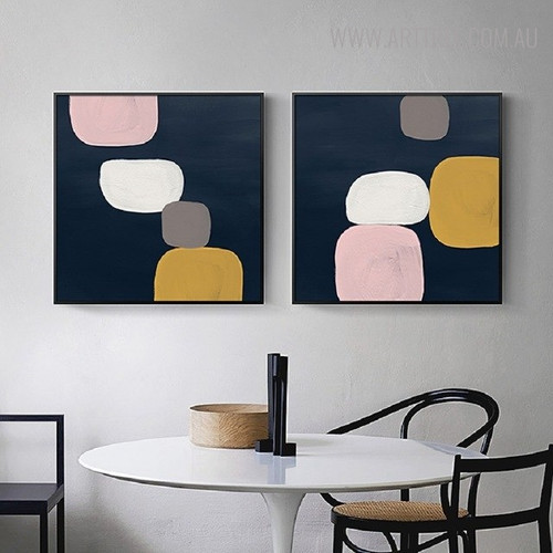 Many Rocks Vintage Abstract Still Life Painting Canvas Print for Dining Room Wall Ornament