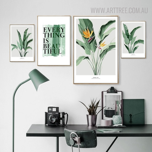 Banana Tree Leaves Botanical Quotes Modern Painting Canvas Print for Room Wall Decor
