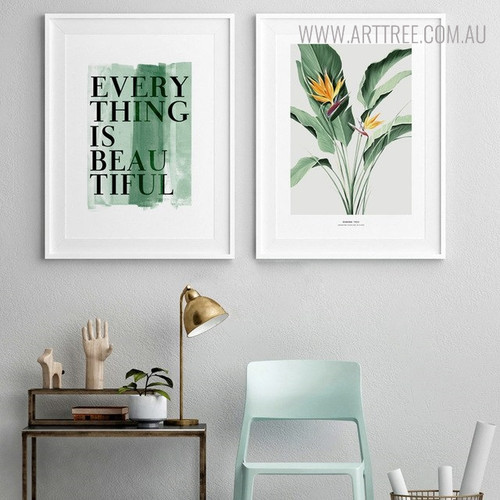 Everything Quotes Botanical Modern Painting Canvas Print for Room Wall Decoration