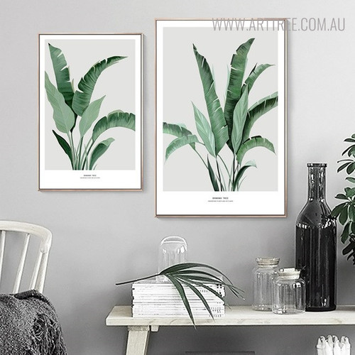 Tropical Banana Foliage Botanical Modern Painting Canvas Print for Study Room Wall Decor