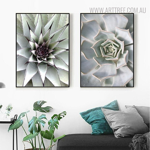 White Aloe Vera Botanical Modern Scandinavian Painting Print for Living Room Wall Decor