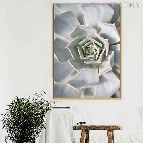 White Cactus Botanical Modern Scandinavian Canvas Print for Room Wall Ornament