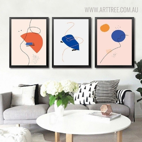 Semi Circle Modern Abstract Geometric Painting Print for Living Room Wall Equipment