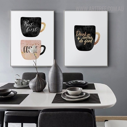 But First Coffee Nordic Quotes Painting Canvas Print for Kitchen Wall Decor