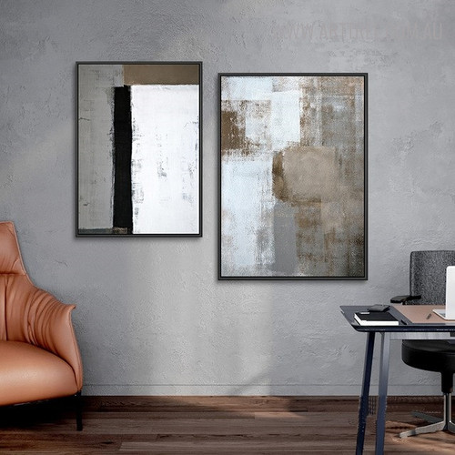 Wooden Effect Abstract Vintage Painting Canvas Print for Room Wall Getup