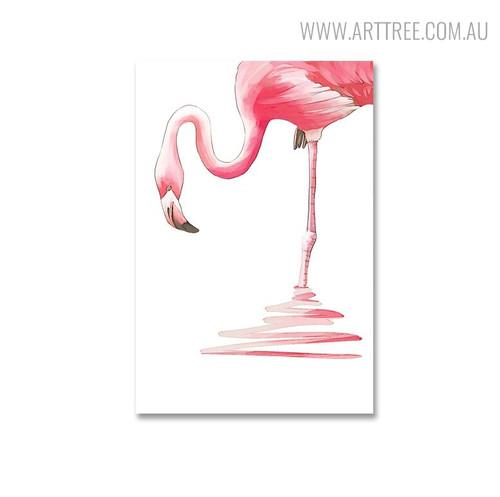 Flamingo Bird Modern Painting Canvas Print