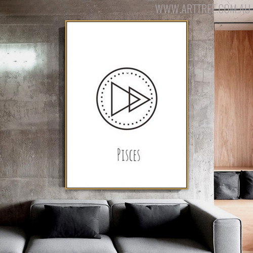 Pisces Abstract Geometric Minimalist Painting Print for Living Room Wall Ornament