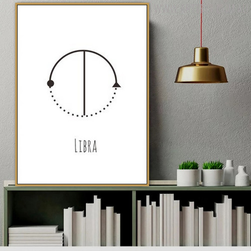 Libra Abstract Geometric Minimalist Painting Canvas Print for Study Room Wall Outfit