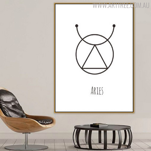 Aries Abstract Geometric Minimalist Painting Print for Living Room Wall Decor