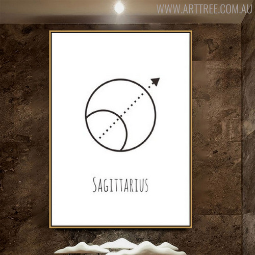 Sagittarius Abstract Geometric Minimalist Painting Print for Room Wall Decor