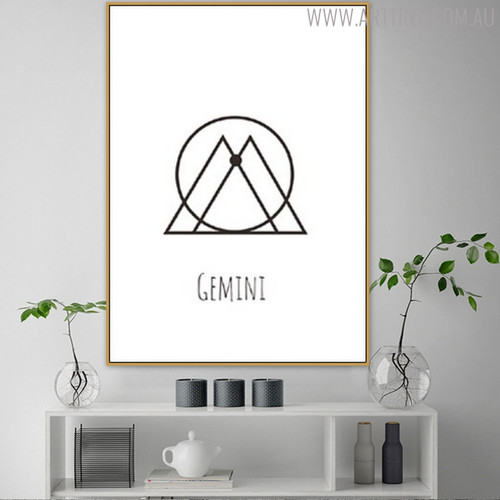 Gemini Abstract Geometric Minimalist Painting Print for Room Wall Decor