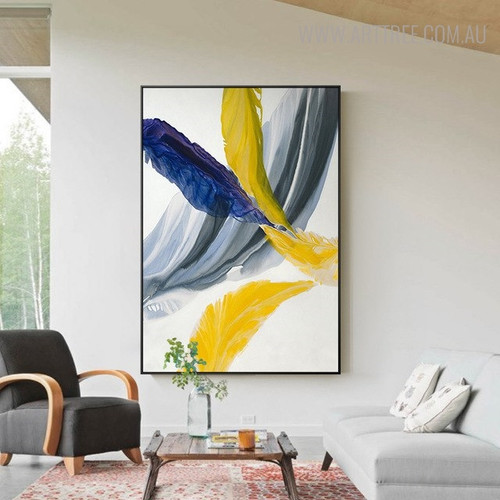 Grey Abstract Modern Painting Canvas Print for Living Room Decor