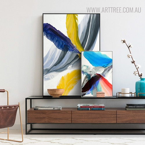 Cyan Abstract Modern Wall Art Print for Living Room Wall Ornament