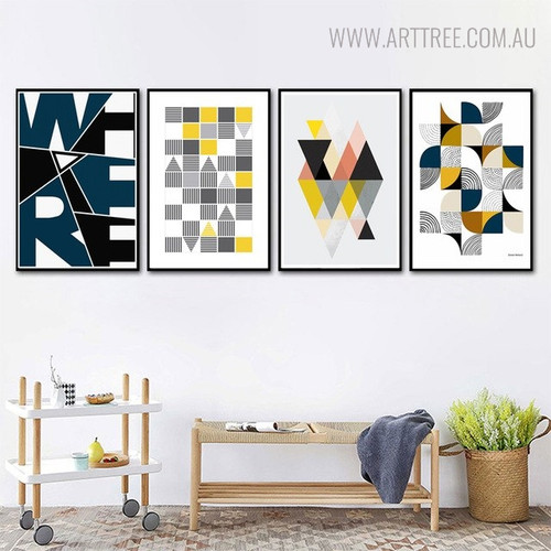 Where Abstract Geometric Scandinavian Painting Print for Home Wall Decor
