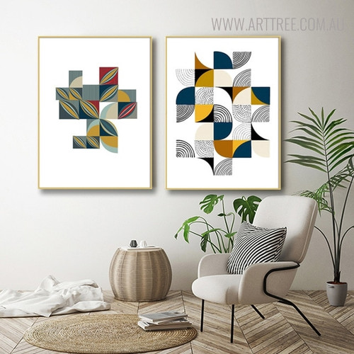 Dotted Quarter Circle Abstract Geometric Scandinavian Painting Print for Living Room Decor