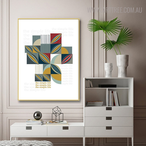 Abstract Square Shapes Geometric Scandinavian Painting Print for Living Room Decor
