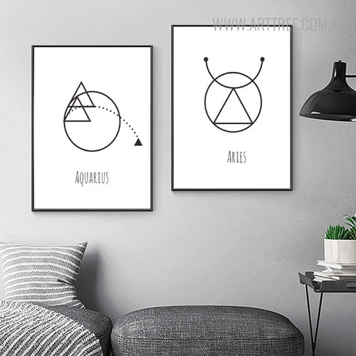 Aquarius Aries Abstract Geometric Minimalist Painting Print for Room Wall Disposition