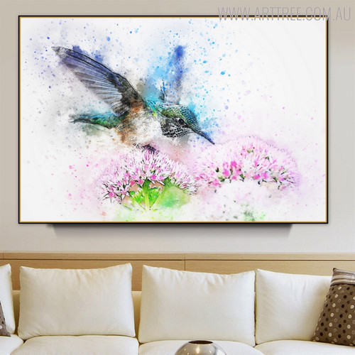 Flying Hummingbird Floral Bird Handmade Canvas Artwork for Living Room Decor