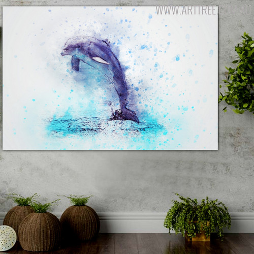 Diving Dolphin Abstract Animal Handmade Artwork on Canvas for Living Room Decor