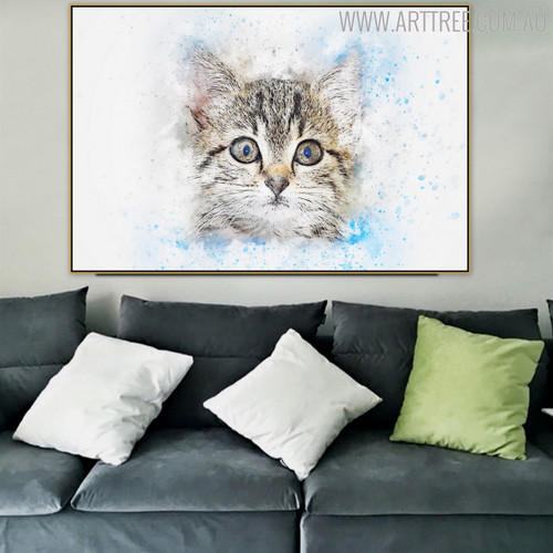Cat Face Abstract Animal Handmade Oil Painting for Living Room Decor