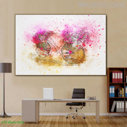 Flower Basket Floral Canvas Artwork for Living Room Wall Decor