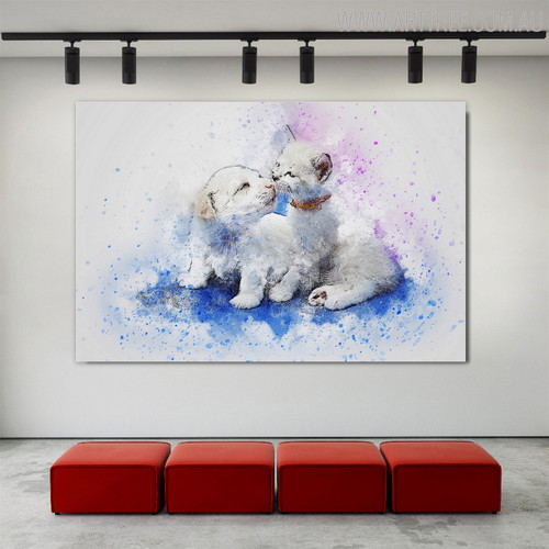Playing Puppy Animal Handmade Canvas Art for Home Wall Decor