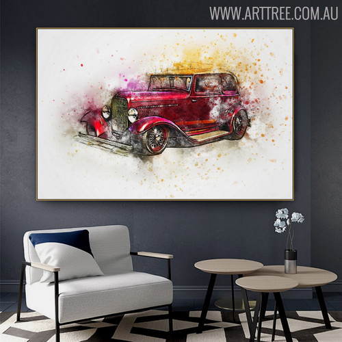 Red Antique Car Abstract Handmade Canvas Artwork for Home Wall Decor