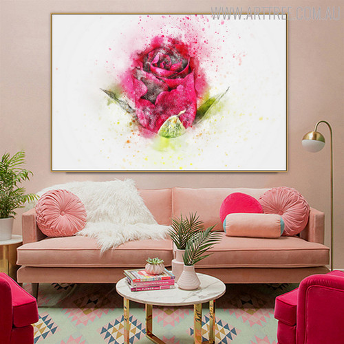 Pink Rose Flower Handpainted Canvas for Room Wall Decor