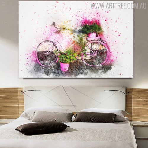 Cycle and Plants Flower Canvas Artwork for Room Wall Drape