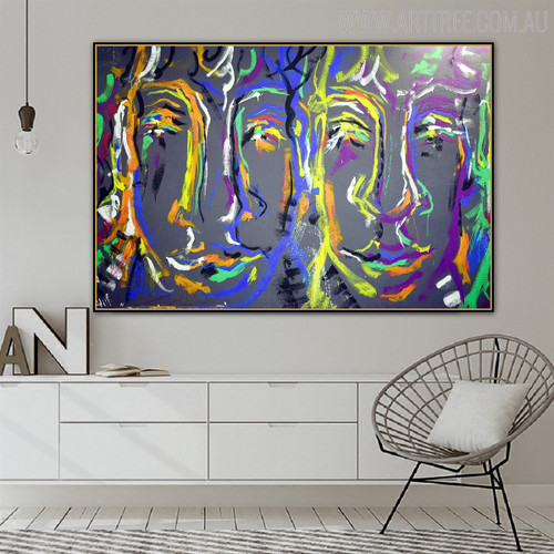 Human Faces Abstract Canvas Art for Room Wall Garnish