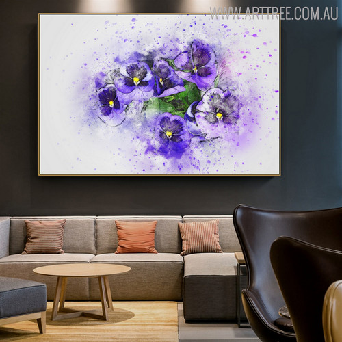 Purple Pansy Flower Canvas Artwork for Room Wall Outfit