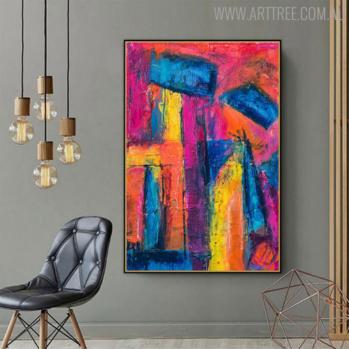 Gaudy Shades Abstract Handpainted Canvas for Living Room Wall Disposition