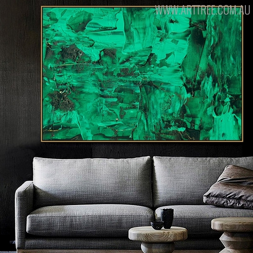 Green Abstract Canvas Artwork for Living Room Wall Equipment