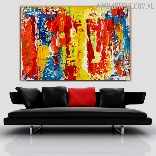 Particolored Abstract Acrylic Painting for Lounge Room Wall Assortment