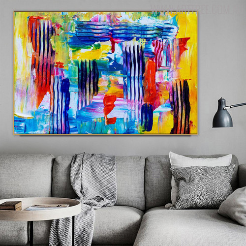 Hue Lines Abstract Handmade Canvas Artwork for Lounge Room Wall Tracery