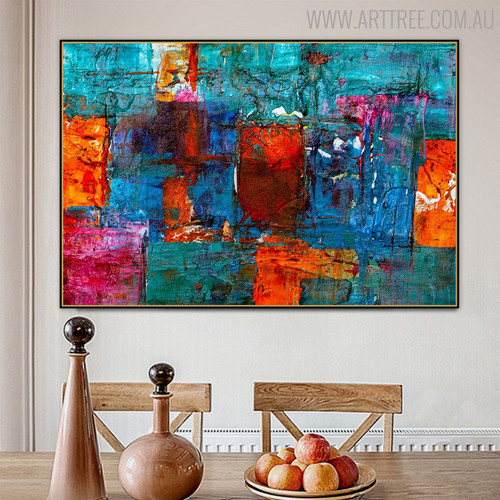 Calico Abstract Handpainted Canvas for Dining Room Wall Decor