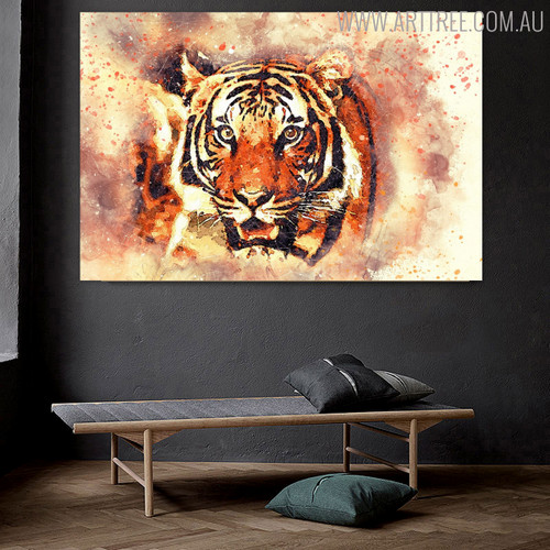 Tiger Animal Handmade Oil Vignette for Room Wall Garnish