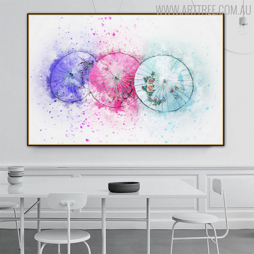 Colorful Umbrellas Abstract Handpainted Canvas for Dining Room Wall Decor