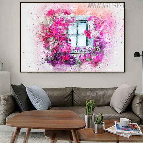 Window Floral Handmade Oil Painting for Home Wall Getup
