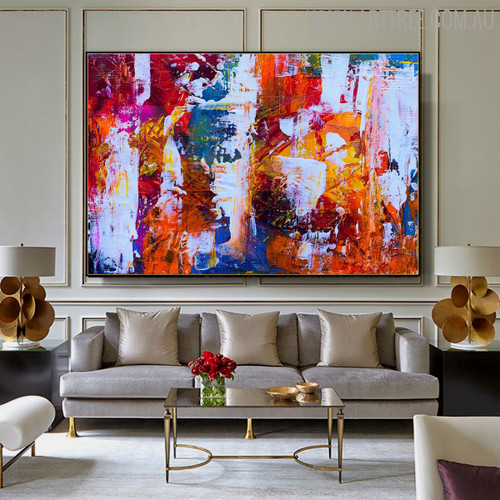Motley Abstract Oil Portmanteau on Canvas for Living Room Wall Flourish