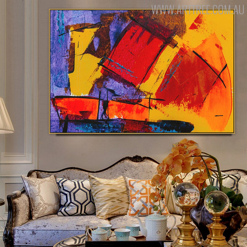 Colorful Artwork Abstract Handmade Painting for Living Room Wall Adornment
