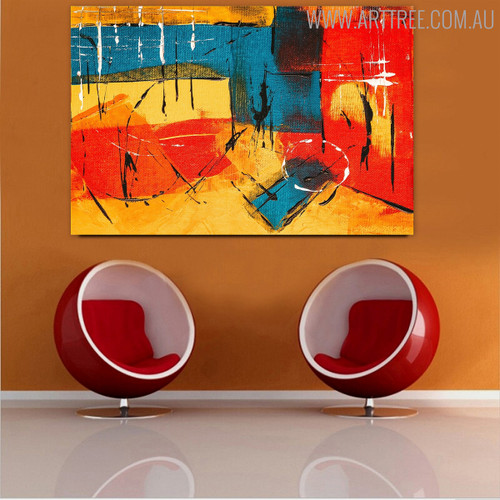 Multicolor Portraiture Abstract Acrylic Painting for Room Wall Trimming